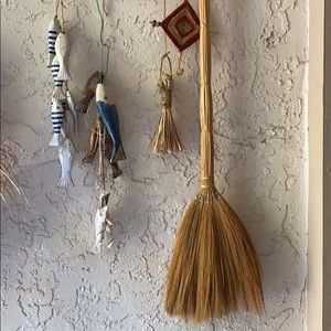 Vintage hand broom. Boho decor 34""